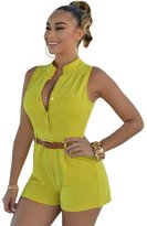 Min Qiao Women's Plus Size Casual Sexy V-Neck Sleeveless Shorts Pant Button Rompers Jumpsuit