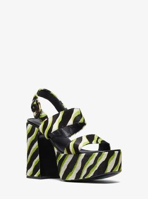 Michael Kors Blaire Zebra Calf Hair Platform Sandal