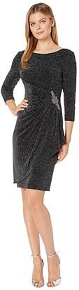 Alex Evenings Short Metallic Knit Sheath Dress (Black/Silver) Women's Dress