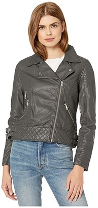 YMI Jeanswear Snobbish Snobbish Faux Leather Jersey Lined Moto Jacket (Black) Women's Clothing