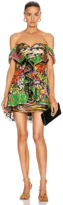 Dundas Strapless Printed Ruffle Mini Dress in Black & Multi | FWRD