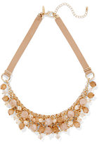 New York & Co. Faux-Suede Beaded Bib Necklace