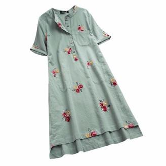 Toamen Women's Dress Toamen Vintage T-Shirt Dress Sale Women Casual Irregular Floral Embroidered Short Sleeve Pockets Loose Linen Dress(Green XL)