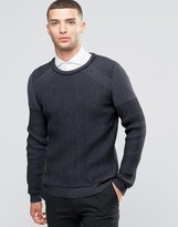 Sisley Ribbed Sweater with Contrast Panels
