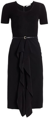 Max Mara Rapace Knit Crepe Ruffle Sheath Dress