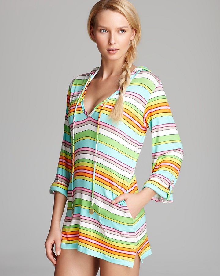 Trina Turk Tennis Anyone Hooded Tunic Cover Up