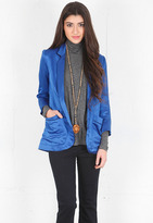 Pajama Blazer in Cobalt with Black Pipe - by SMYTHE