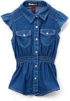 Dollhouse Blue Denim Button-Up Top - Girls