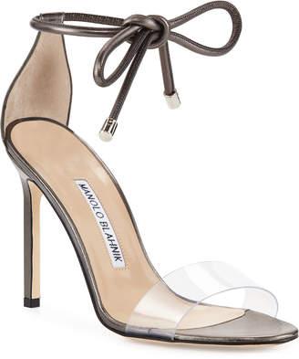 Manolo Blahnik Estro Leather & PVC Ankle-Wrap Sandals