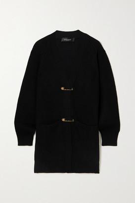 Versace Embellished Ribbed Wool Cardigan - Black