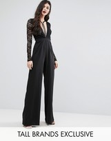 NaaNaa Tall Naanaa Tall Plunge Front Jumpsuit With Lace Sleeve