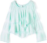 Beautees Mint Lace-Detail Layered Top & Necklace - Girls