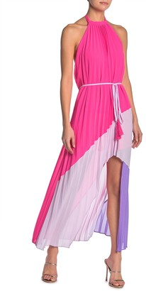 One One Six Pleated Colorblock Halter Maxi Dress