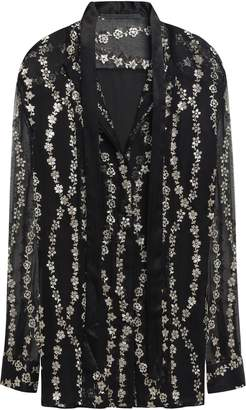 Haider Ackermann Embellished Silk-voile And Satin Shirt