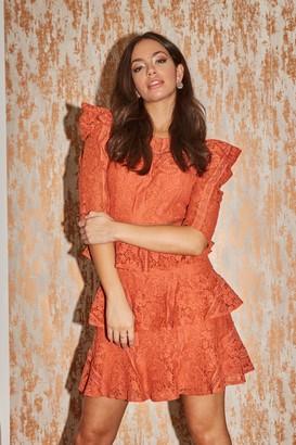 Little Mistress Winnie Rust Tiered-Lace Shift Dress