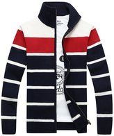 OCHENTA Men's Long Sleeve Stand Collar Stripped Full Zip Knitted Cardigan Tag Size XXL-US XL
