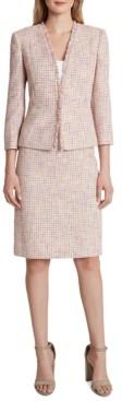 Tahari ASL Fringe Jacket Skirt Suit