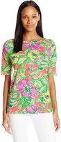 Caribbean Joe Women's Floral Printed Cotton Spandex Elbow Sleeve Boatneck Tee Shirt