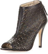Etienne Aigner Kiva Laser-Cut Leather Bootie, Black
