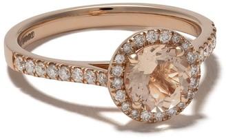 Astley Clarke 14kt rose gold Halo Tearoom morganite oval cut stone and diamond ring