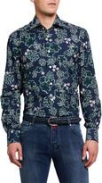 Kiton Men's Batik Poplin Sport Shirt