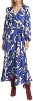 Veronica Beard Mclean Floral Silk Long Sleeve Maxi Dress