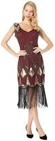 Unique Vintage Sequin Lina Fringe Flapper Dress (Red/Gold) Women's Dress