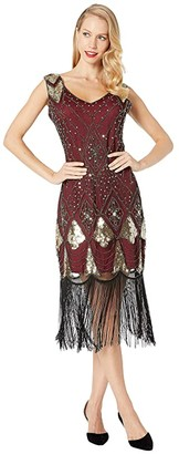 Unique Vintage Sequin Lina Fringe Flapper Dress (Red/Gold) Women's Dress