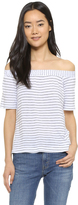 Splendid Striped Off Shoulder Tee