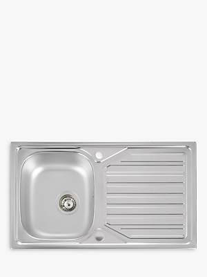 John Lewis & Partners Single Bowl Inset Stainless Steel Kitchen Sink & Drainer, Satin Steel