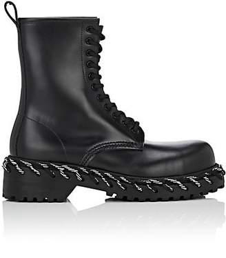 Balenciaga Women's Leather Combat Boots - Black