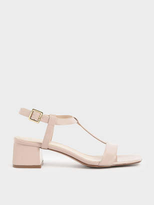 Charles & Keith Patent T-Bar Block Heel Sandals