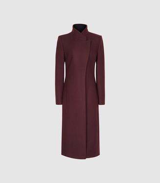 Reiss Mason - Wool Blend Longline Coat in Berry