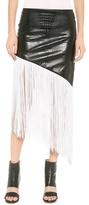 Rodarte Embossed Faux Leather Fringe Skirt