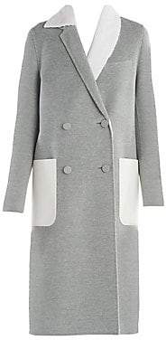 Fendi Women's Sheared Mink Trim Double-Breasted Cashmere Coat