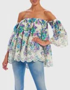 Forever Unique Floral Off Shoulder Top - cotton | one size - White/Pink/Blue