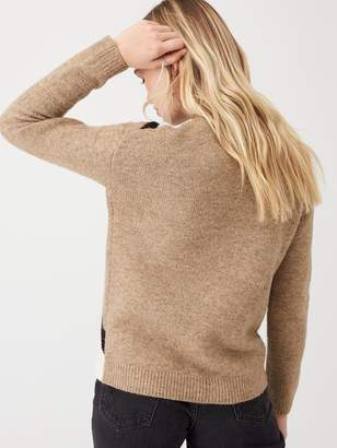 Very Contrast Cross Front Jumper - Oatmeal