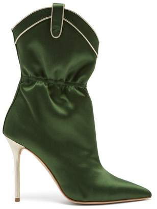 Malone Souliers Daisy Satin Boots - Womens - Dark Green