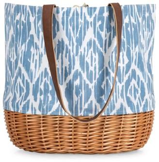 Picnic Time Coronado Pattern Canvas & Willow Basket Tote