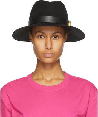 Valentino Black Garavani Wool VLogo Fedora Hat