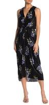 Lush Floral Knot Front Midi Dress