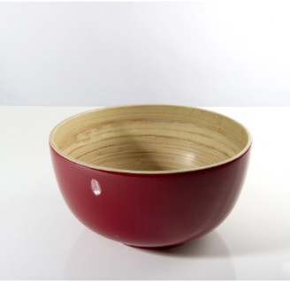 Bibol - 20cm Cherry Lacquered Bamboo Tchon Salad Bowl