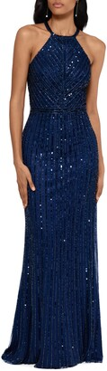 Xscape Evenings Halter Neck Beaded Trumpet Gown