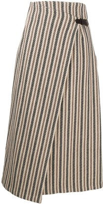 Etro striped A-line skirt