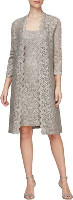 Alex Evenings Lace Cocktail Dress with Jacket
