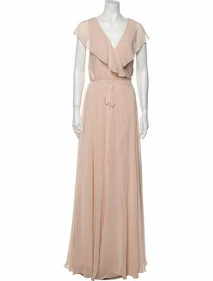 Jenny Yoo V-Neck Long Dress Pink