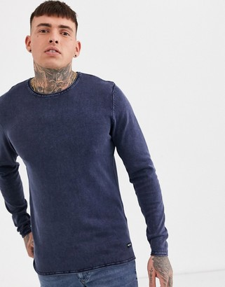 ONLY & SONS crew neck sweater in washed navy