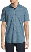 Neiman Marcus Geo-Print Short-Sleeve Sport Shirt, Green/Navy