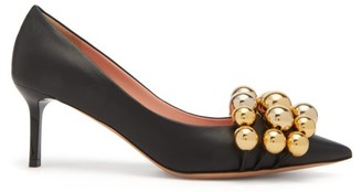 Rochas Beaded Point-toe Leather Pumps - Black Gold