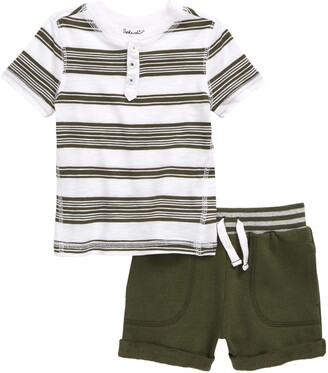 Splendid Stripe Henley T-Shirt & Drawstring Shorts Set